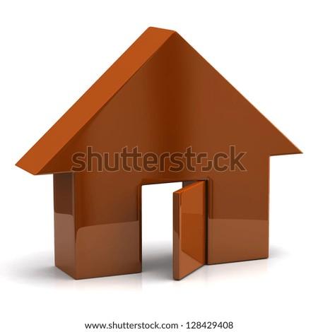 Orange house with open door - stock photo