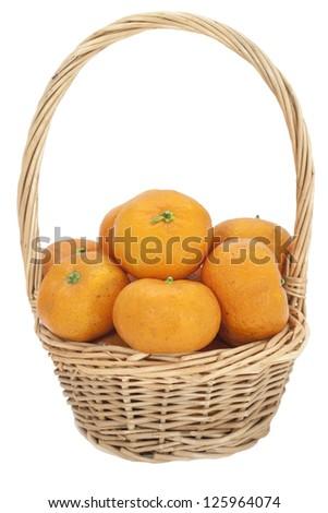 Orange in a basket - stock photo