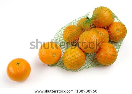 orange in net - stock photo