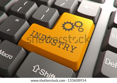 Orange Industry Button on Computer Keyboard. Internet Concept. - stock photo