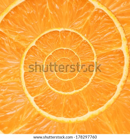 Orange infinity spiral abstract background. Fibonacci.  - stock photo