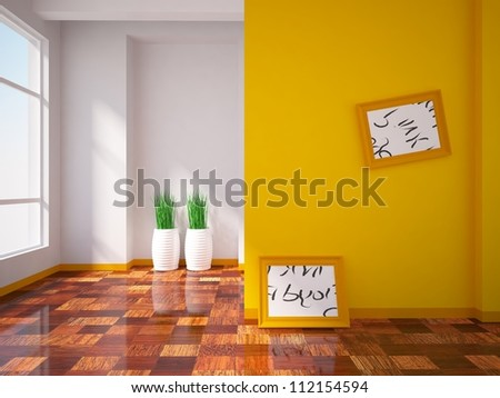 orange interior with pictures on the wall - stock photo