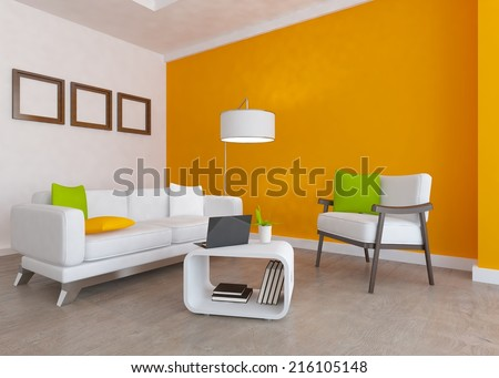 orange interior with white furniture - stock photo