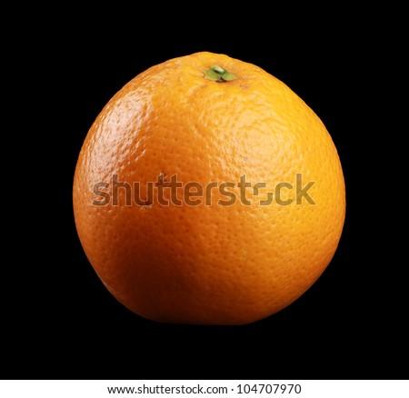 Orange isolated on black - stock photo