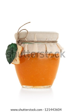 Orange jam isolated on white background - stock photo