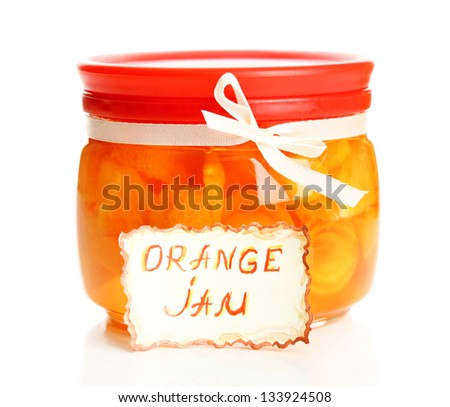 Orange jam with zest, isolated on white - stock photo