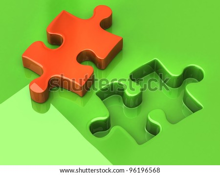 Orange jigsaw puzzle piece - stock photo