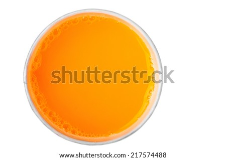 orange juice, a cup top view - stock photo