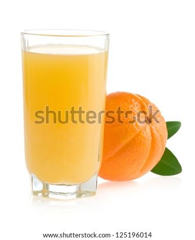 orange juice and fruit isolated on white background - stock photo