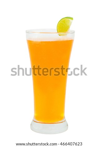 orange juice  and lemon in a glass on white background