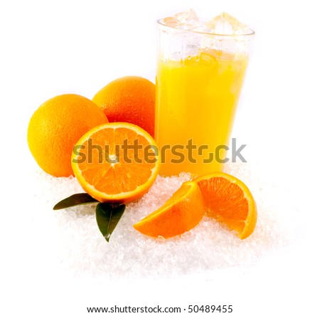Orange Juice and Oranges on bed of ice