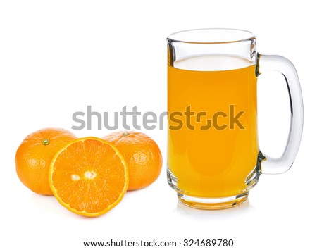 Orange juice and oranges on white background - stock photo