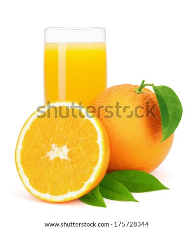 Orange juice and oranges with leaves isolated on the white background, clipping path included. - stock photo