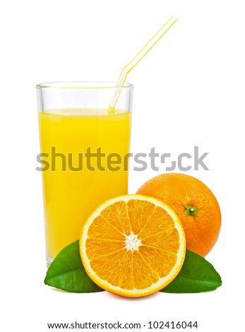 Orange juice and oranges with leaves on white background