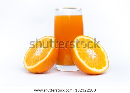 orange juice and slice isolated