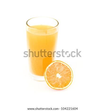 orange juice and slice isolated on white - stock photo