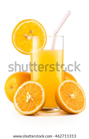 Orange juice and slices of orange isolated on white background with real shadows and clipping path