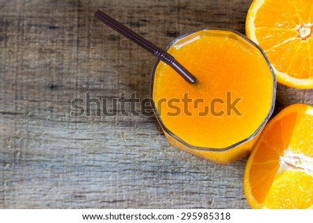 Orange juice and slices orange - stock photo