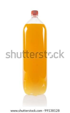 Orange juice bottle isolated on white - stock photo