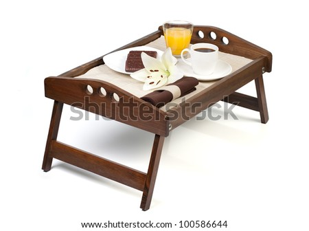 Orange Juice, Cookies And A Cup Of Coffee Over A Wooden Breakfast Tray