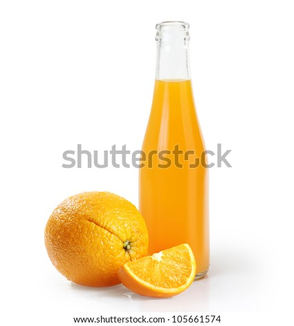 Orange juice glass bottle Isolated on white background