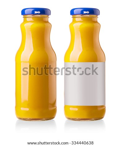 Orange juice glass bottle. Isolated on white background - stock photo