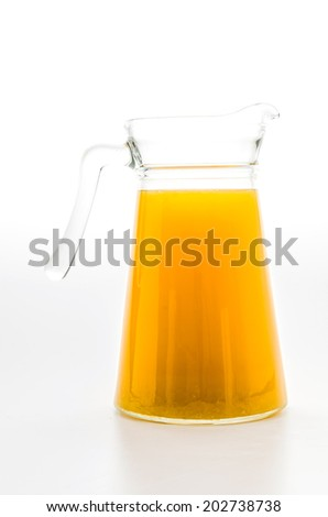 Orange juice glass isolated on white