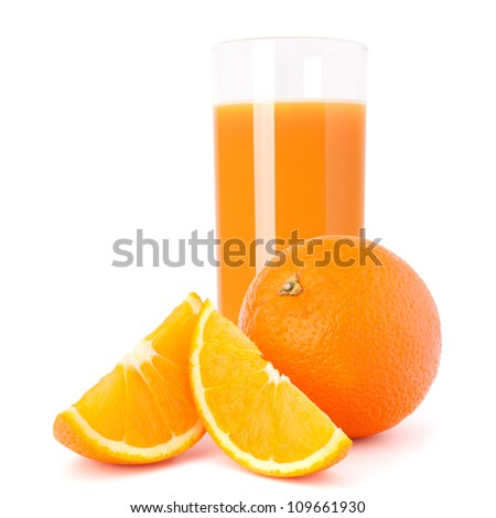 Orange  juice glass isolated on white background