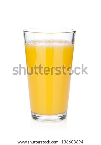 Orange juice glass. Isolated on white background - stock photo