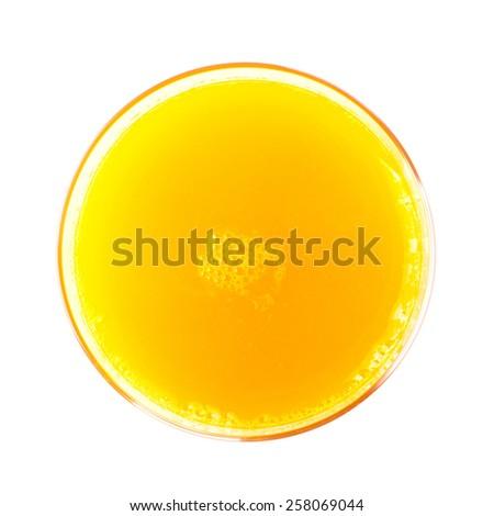 Orange juice glass. Isolated on white background - stock photo