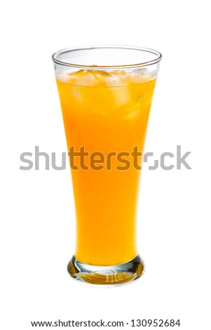 Orange juice glass on white background