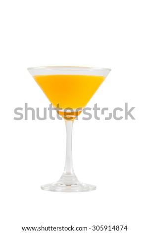 Orange juice in a cocktail glass isolated on white background with clipping path - stock photo