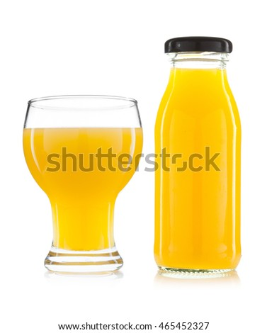 Orange juice in a glass isolated on white background