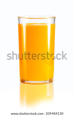 Orange juice in a glass on a white background.