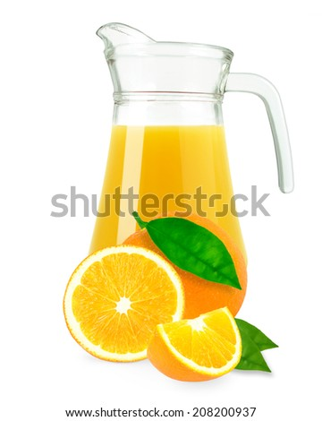 orange juice in a jug on white background