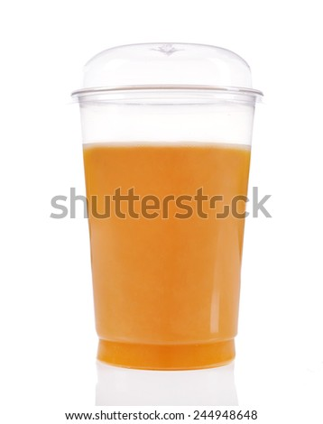 Orange juice in fast food closed cup isolated on white - stock photo