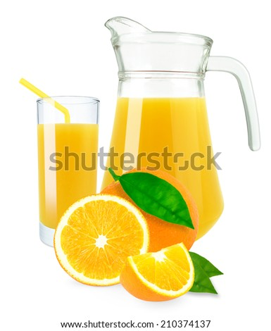orange juice in glass and jug on a white background