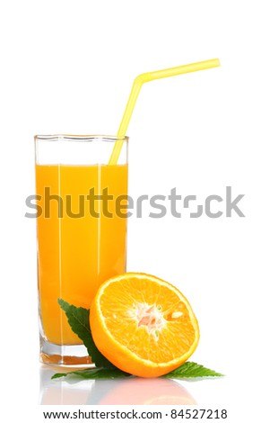 Orange juice in glass and orange isolated on white