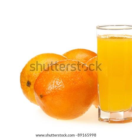 orange juice in glass and orange on white background - stock photo