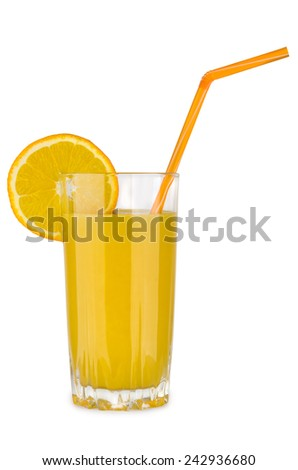 Orange juice in glass beaker with straw isolated on white background