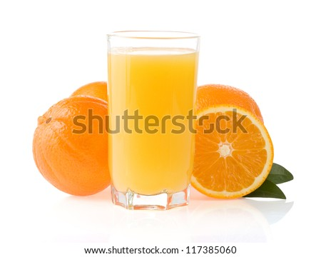 orange juice in glass isolated on black background