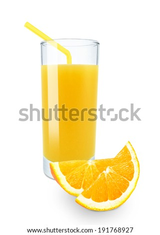 orange juice in glass on white background