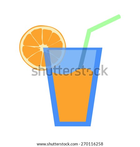 Orange juice in glass with orange slice. isolated on white background. Raster version - stock photo