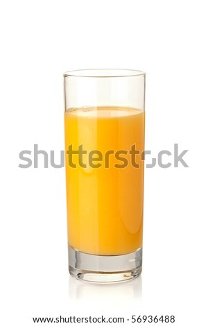 Orange juice in highball glass. Isolated on white background - stock photo
