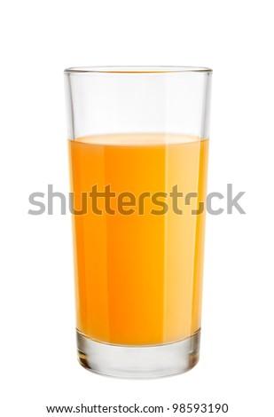 Orange juice in highball glass. Isolated on white background - stock photo