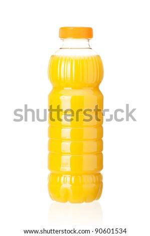 Orange juice in plastic bottle on white background - stock photo