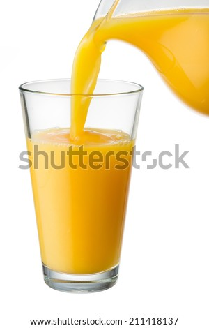 Orange juice is poured from pitcher into the glass