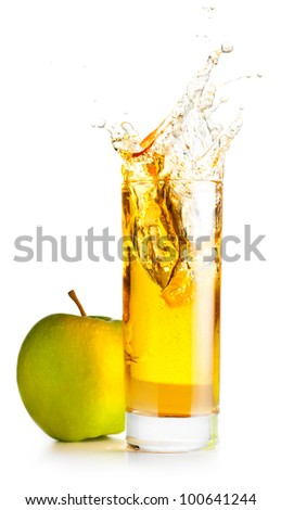 orange juice is splashing in glass cut out from white background - stock photo