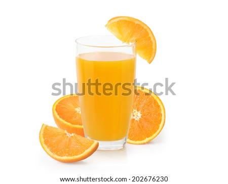 Orange juice isolated on a white  - stock photo