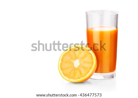 orange juice isolated on white background clipping path